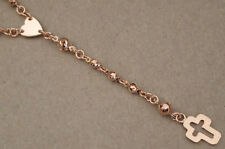 Men's Lady Rosary Rosario Necklace Rose Pink Gold Plated 4mm Cross Virgin Mary