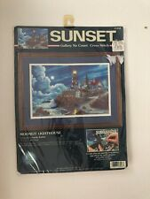 Moonlit Lighthouse Dimensions Sunset Gallery no count cross stitch 13948 New USA
