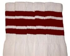 "22"" KNEE HIGH WHITE tube socks with MAROON stripes style 1 (22-18)"