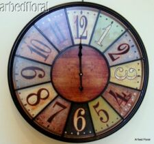 """24"""" Wooden Large Tuscan Wall Clock Rich Coloring Number Iron Bistro"""