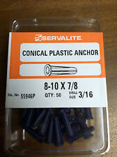 """CONICAL PLASTIC ANCHOR 8-10 X 7/8"""", DRILL SIZE 3/16 PACK OF 50"""