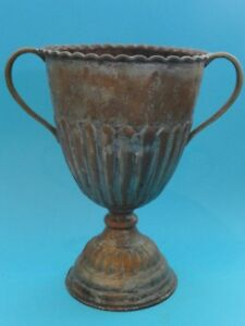 """ANTIQUE MIDDLE EASTERN COPPER TWO HANDLED CUP ~ 9.5"""""""