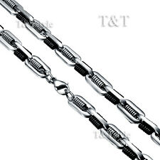T&T 10mm Two-Tone Stainless Steel Chain Necklace 120g (C124)