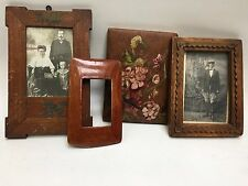 Four Antique Vintage Russian Folk Art Hand Painted Picture Frames and Photograph
