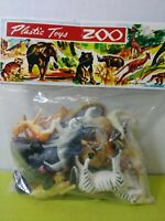 Vintage 1960s NMP Plastic Zoo Animals Lion Tiger Wild Cat Hong Kong