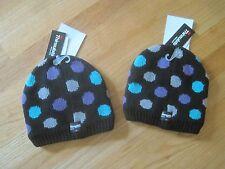 Twin girls POLKA DOTS BLACK KNIT FLEECE Winter Snow hats NWT 4 5 6 7 8