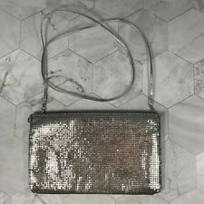 Vintage 1980s Whiting & Davis Silver Mesh Coin Purse Handbags Crossbody Bag