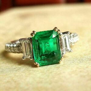 3Ct Emerald Cut Green Diamond Solitaire Engagement Ring 14K White Gold Finish