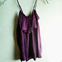 Joie Purple 100% Silk Ruffle Cami Top Women's size x-small