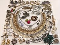 Vintage Necklace Earrings Pin Flower Rhinestone Jewelry Lot MONET NAPIER +++