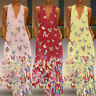 Boho Women Sleeveless Vest Maxi dress Butterfly Printed Deep V-Neck Long dress