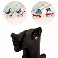 Independence Day American Flag Earrings Star Heart Shape Ear Studs Crystal