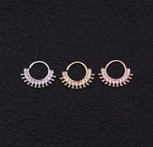 Rhodium Gold Daith Cartilage Ear Ring  Nose Hoop Sterling Silver Pin Lip 8MM