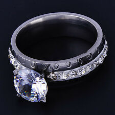 Stunning Stainless Steel Womens Wedding Clear crystal Band Ring Size 7