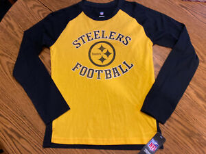 Pittsburgh Steelers Youth Boys Long Sleeve Logo Shirt Size Medium 10/12 ~ NWT