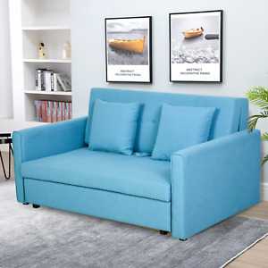 Blue Sofa Bed 2 Seat Convertible Storage Space Living Room Furniture Guest