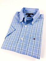 TOMMY HILFIGER Shirt Men's Short Sleeve Poplin Blue Prince Of Wales Checks
