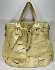 RomyGold Beige Leather Hobo HandBag Purse Tote Studded Layers Drawstring