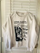 Pierre Balmain Men's Logo Graphic Pullover Sweatshirt Size 54 White Authentic
