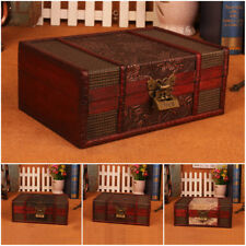 Vintage Wooden Treasure Trinket Storage Jewelry Gifts Box Chest Case Orgnizer
