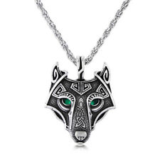 Antique Silver/Gold Norse Viking Wolf Head Pendant Men's Necklace Jewelry