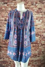 Reborn Blue Purple Pink Floral Short Tunic Dress Size XL