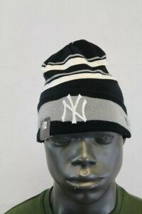 New Era NY YANKEES KNIT EMBROIDERED TOBOGGAN CAP BLACK/WHITE/GREY