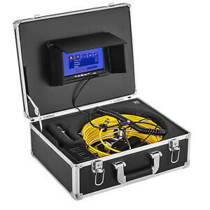 """50M Sewer Waterproof Camera Pipe Pipeline Drain Inspection Snake 7"""" LCD 8GB DVR"""