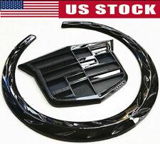 "4"" Black Cadillac Wreath Crest Rear Tailgate Truck 3D Logo Emblem Badge Sticker"