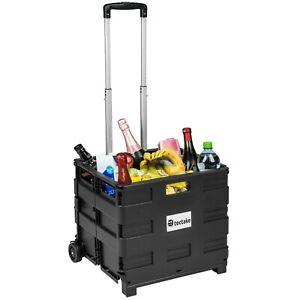 Carrello porta spesa trolley plastica box pieghevole 35kg borsa con 2 ruote nuov