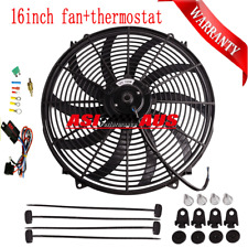 """16"""" 12V Pull Push Curved Radiator Electric Thermo Fan&Mounting&Thermostat kit"""
