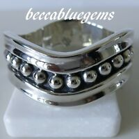 Bracelet OLDOLD TAXCO TA-90 BEAD BALL WAVE Hinged Bangle Vtg 925 STERLING SILVER