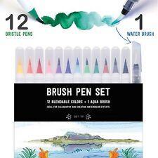 Stationery Island Brush Pen Set Of 12 - Watercolour Brush Pens + Water Brush