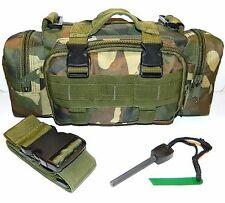 Molle Military Tactical Pouch & Flint Magnesium Ferro Rod Fire Starter Striker