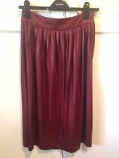 Women's ZARA WOMAN Burgundy Pleated Midi Skirt