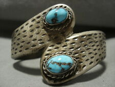 Bisbee Turquoise Silver Bracelet Old Heavy And Thick Vintage Navajo