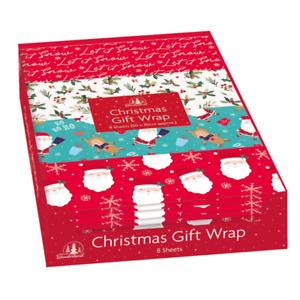 Christmas Gift Wrap Sheets Xmas Party Present Wrapping Paper Santa Snow Flakes