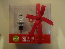 Food Network Set Of 4 Christmas Wine Glass Charms & Tree Stopper New!!