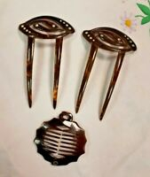 Vintage Art Deco Bakelite & Diamante Pair of Hairl Slides & Comb Grip VGC