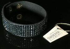 Swarovski Elements Slake Bracelet Crystal Black Alcantara Leather Bling Cuff
