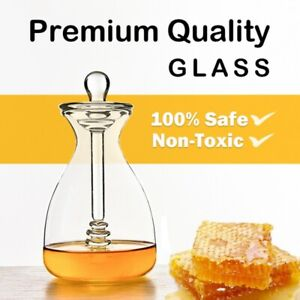 Clear Honey Jar with Dipper and Lid Glass Beehive Honey Pot for Home Kitchen Hot