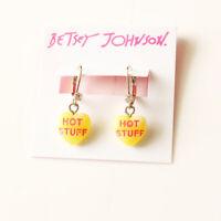 New Betsey Johnson Resin Heart Drop Earrings Gift Fashion Women Party Jewelry FS