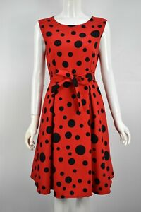 Women's Girls Polka Dot Fit & Flare Spotty Party Skater Dress Black Red White
