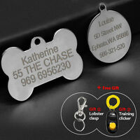 Dog Tags Disc Round Bone Shape Engraved Dog Cat Pet Name ID Tag Stainless Steel