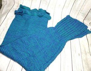 Mermaid Tail Blanket Knitted Mermaid Blanket for Kids teal blue