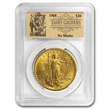1908 $20 St. Gaudens Dbl Eagle No Motto BU PCGS Prospector Label