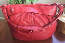 "Allison Scott ~ Red Pebbled Leather ~ ""Adrianna"" ~ Round Hobo ~ Shoulder Bag"