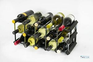 Cranville wine rack storage 15 bottle Black wood and metal assembled