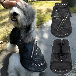 Fashion Waterproof Leather Jacket Small Dog Winter Coat Pet Cat Clothes Yorkie