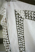 Antique French fine LINEN coffee table TABLECLOTH LACE CROCHET c1900